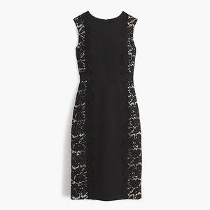 J. Crew Black Lace Panel Sheath Dress